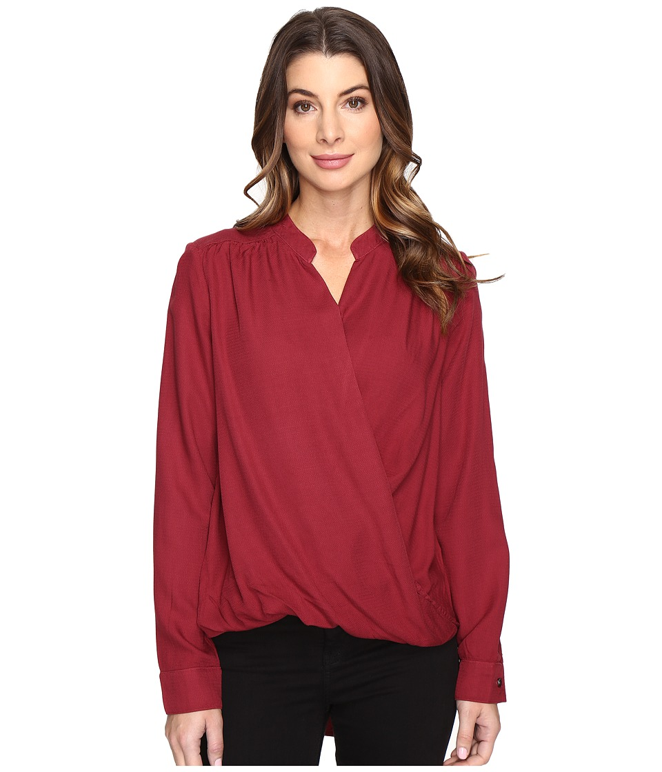 Splendid - Surplice Top (Maroon) Women's Long Sleeve Pullover