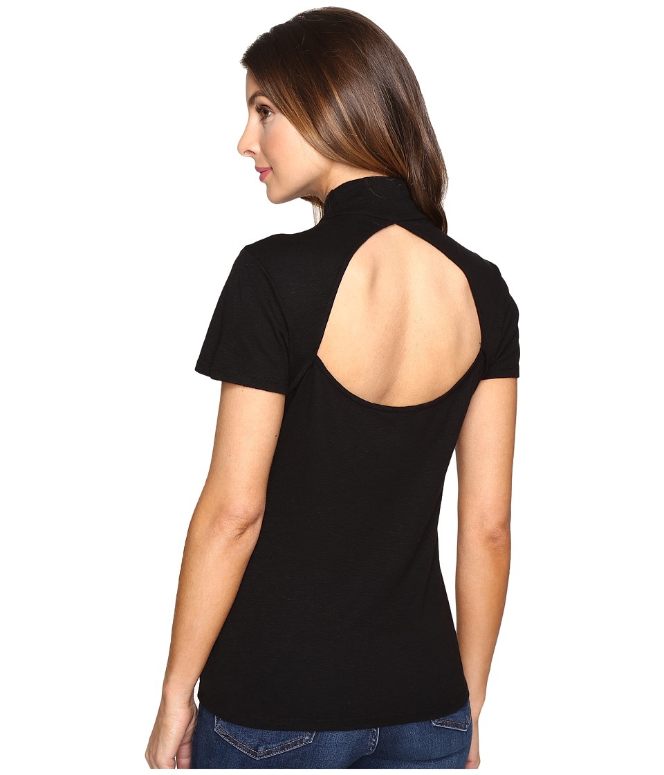 Splendid Slub 1x1 Fitted Turtleneck Tee (Black) Women