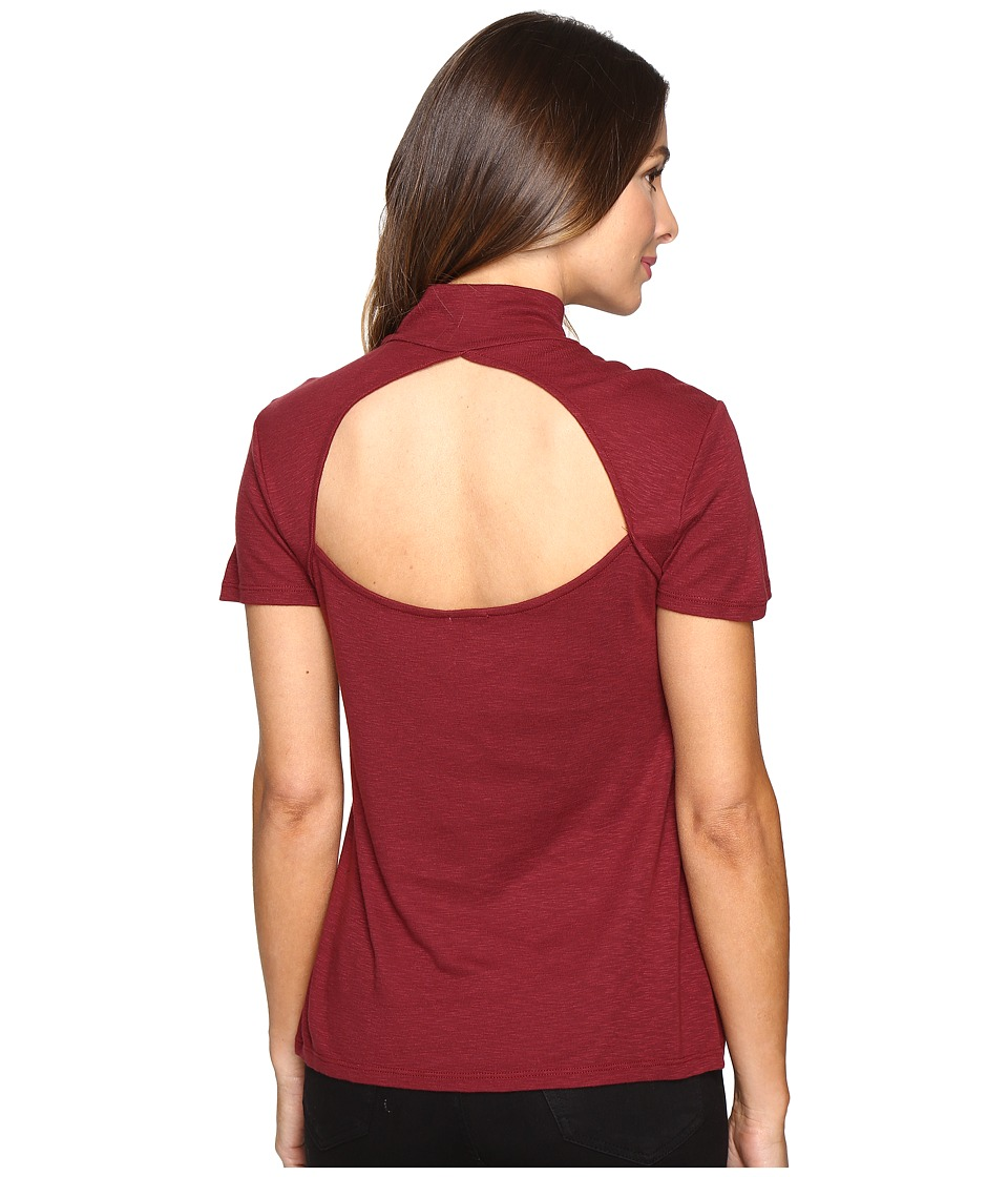 Splendid Slub 1x1 Fitted Turtleneck Tee (Maroon) Women