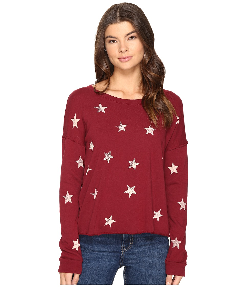 Splendid - Ashbury Star Scoop Neck Pullover (Maroon) Women's Long Sleeve Pullover