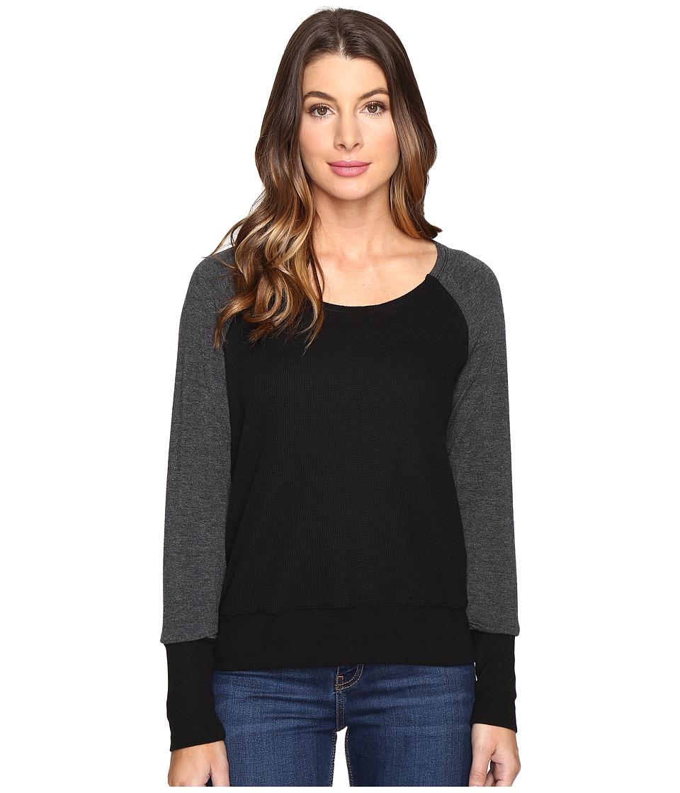 Splendid - Thermal Popover (Black) Women's Long Sleeve Pullover
