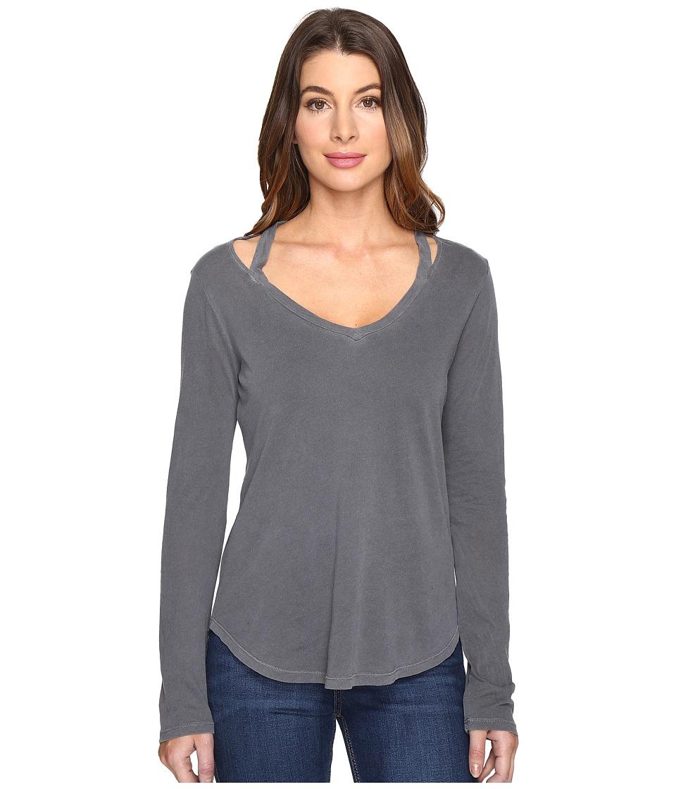 Splendid - Long Sleeve V-Neck Top (Lead) Women's Long Sleeve Pullover