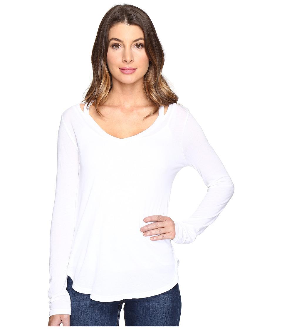Splendid - Long Sleeve V-Neck Top (Paper) Women's Long Sleeve Pullover