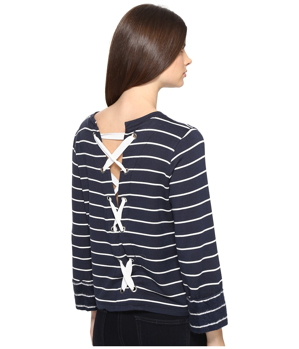 Splendid - Dune Stripe Lace Up Back Top (Navy/White) Women's Long Sleeve Pullover