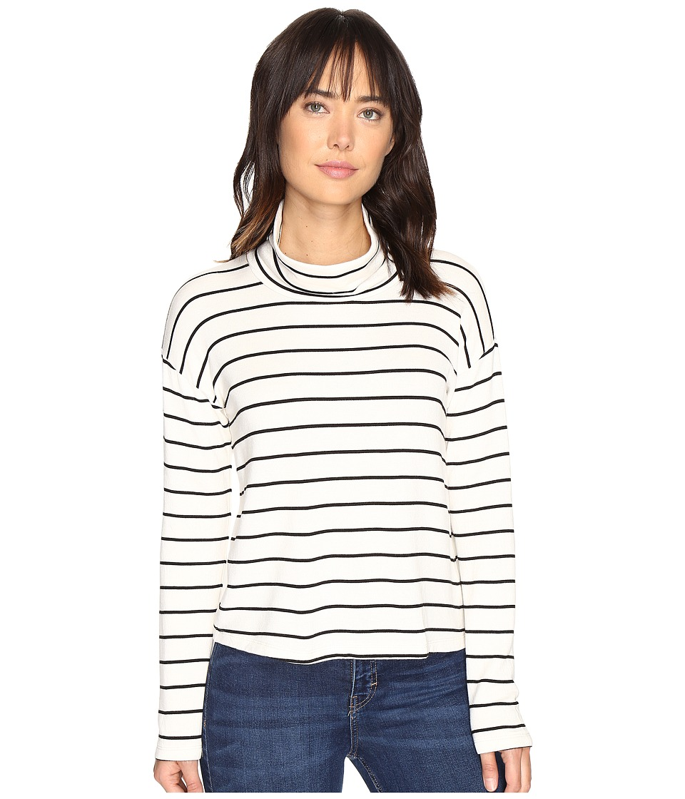Splendid - Dune Stripe Crop Turtleneck (White/Black) Women's Long Sleeve Pullover