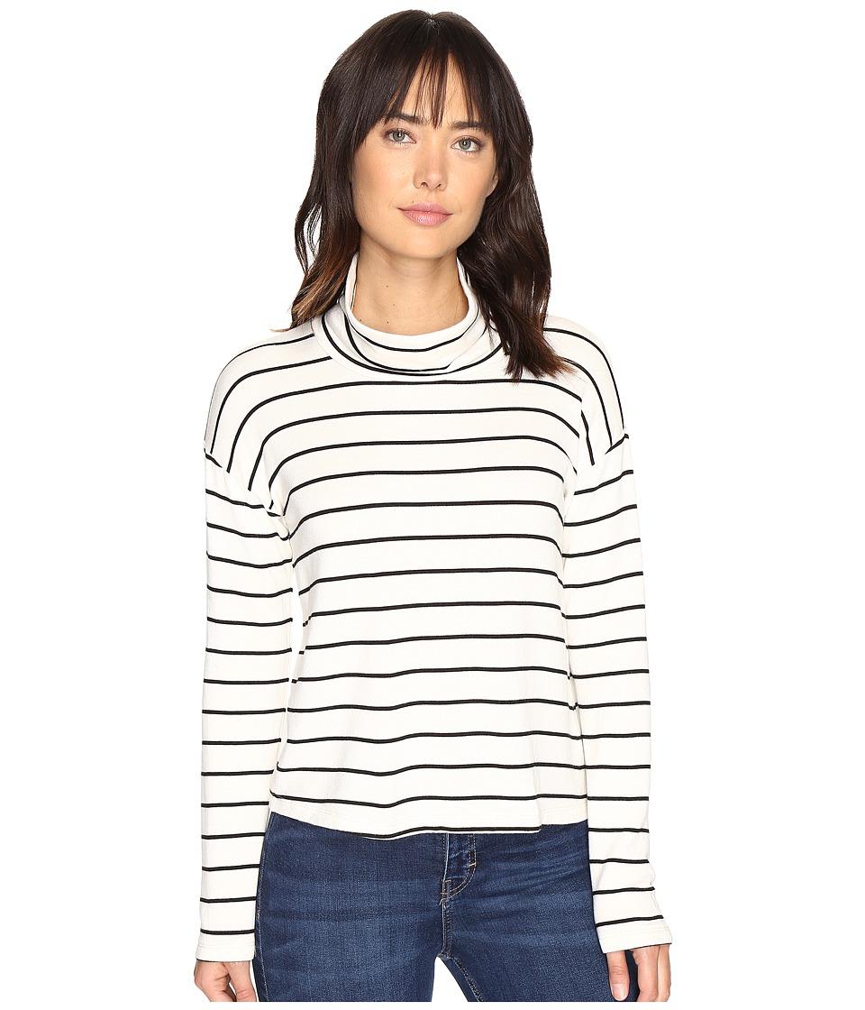 Splendid - Dune Stripe Crop Turtleneck (White/Black) Women's Long Sleeve Pullover