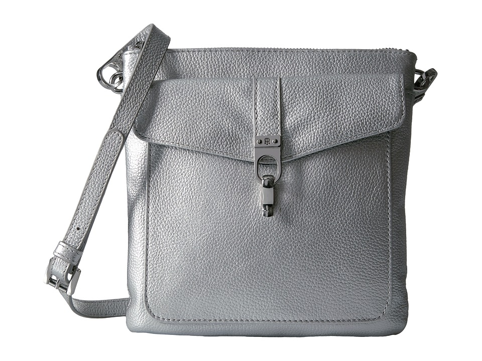 Tommy Hilfiger - Kira North/South Crossbody Pebble Leather (Silver) Cross Body Handbags