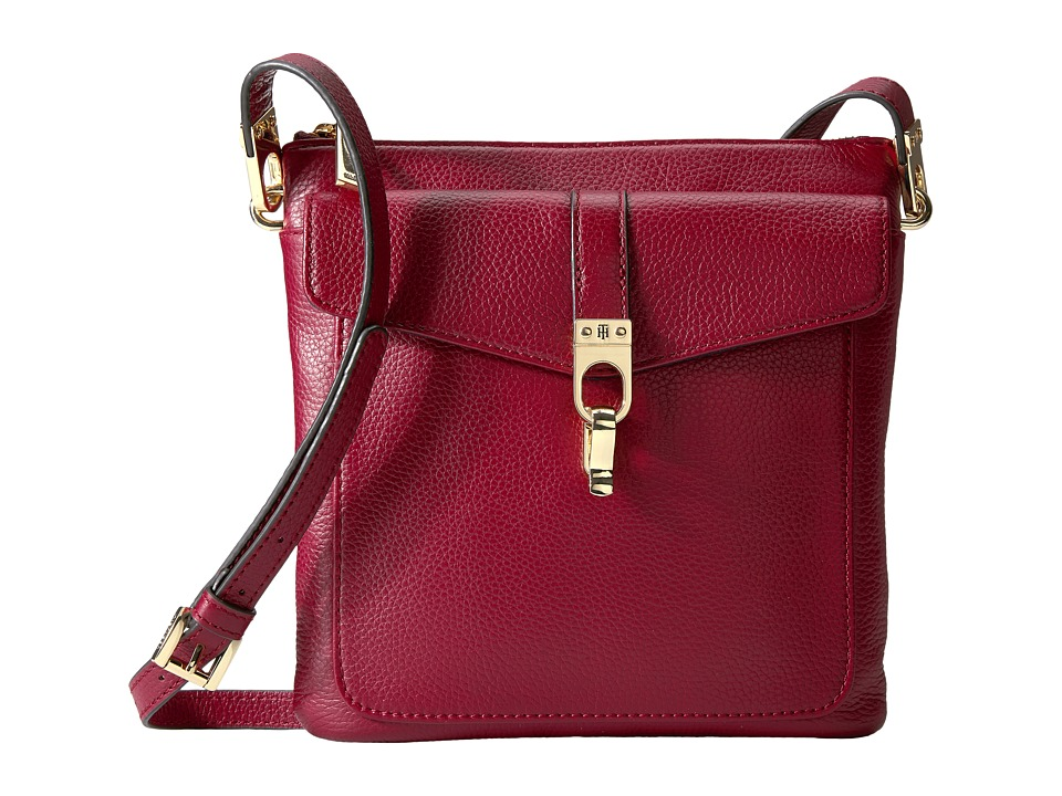Tommy Hilfiger - Kira North/South Crossbody Pebble Leather (Cabernet) Cross Body Handbags