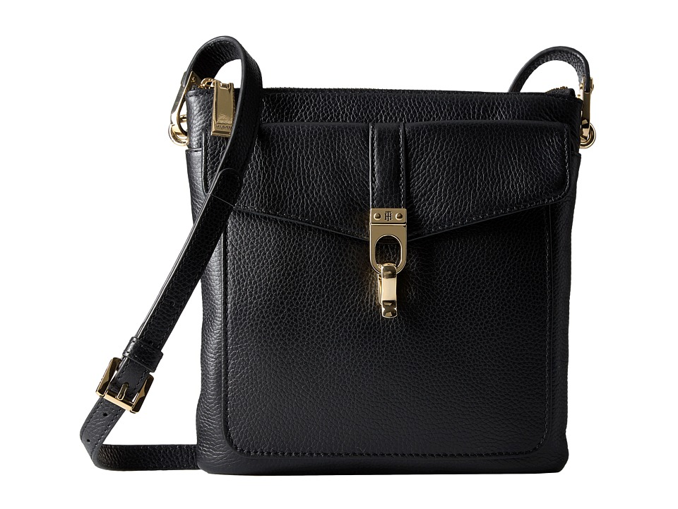 Tommy Hilfiger - Kira North/South Crossbody Pebble Leather (Black) Cross Body Handbags