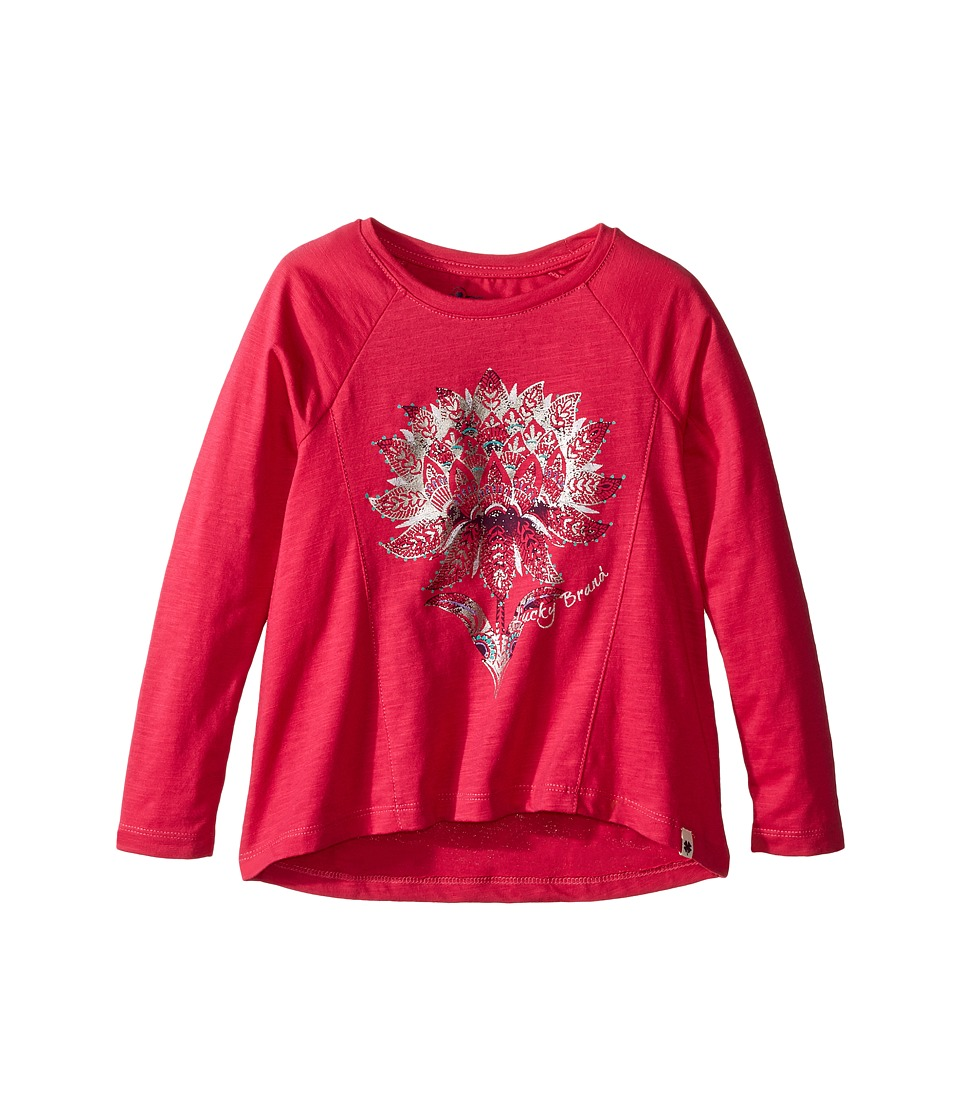Lucky Brand Kids - Long Sleeve Tee with Lotus Graphic (Toddler) (Bright Rose) Girl's T Shirt