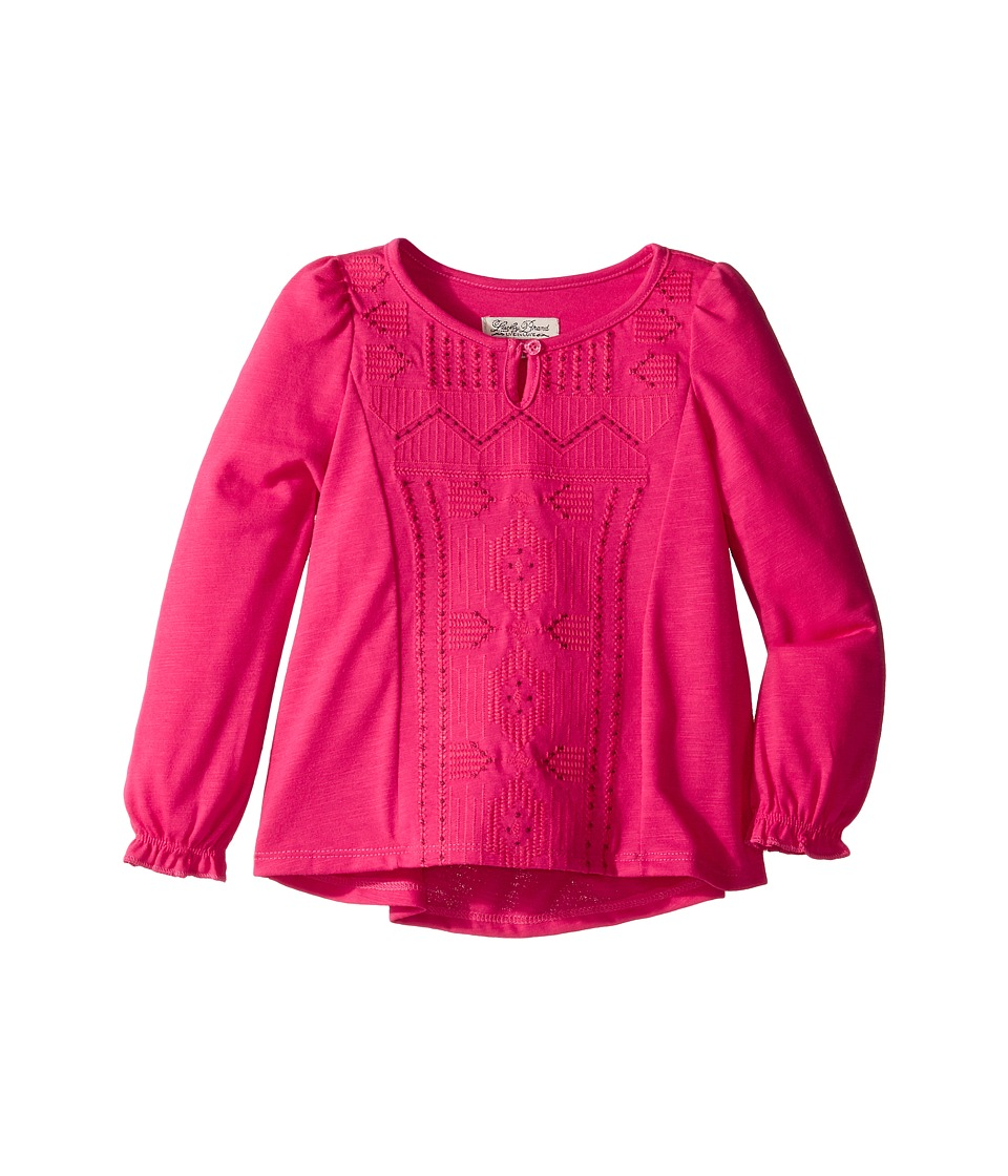 Lucky Brand Kids - Long Sleeve Blouse with Embroidery (Toddler) (Bright Rose) Girl's Blouse