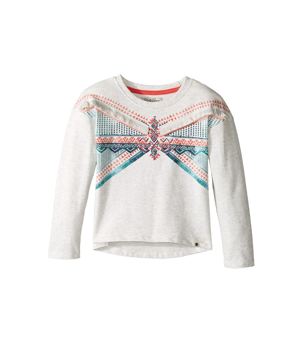 Lucky Brand Kids - French Terry Pullover Shirt with Embroidery and Fringe Trim (Toddler) (Oatmeal Heather) Girl's Clothing