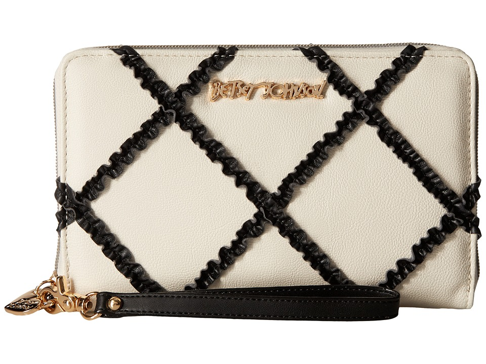 Betsey Johnson - Cross Your Heart Large Wallet (Black/White) Wallet Handbags