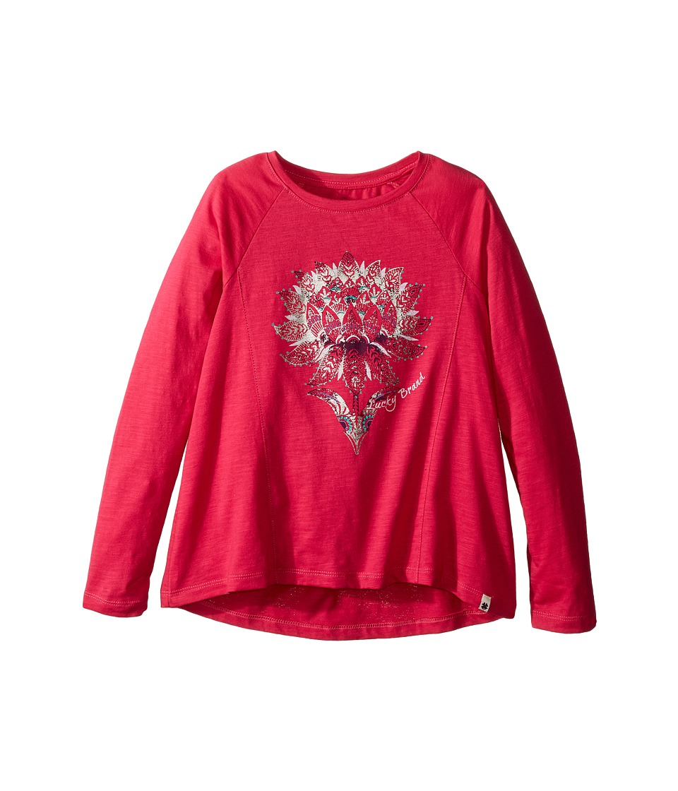 Lucky Brand Kids - Long Sleeve Tee with Lotus Graphic (Little Kids) (Bright Rose) Girl's T Shirt