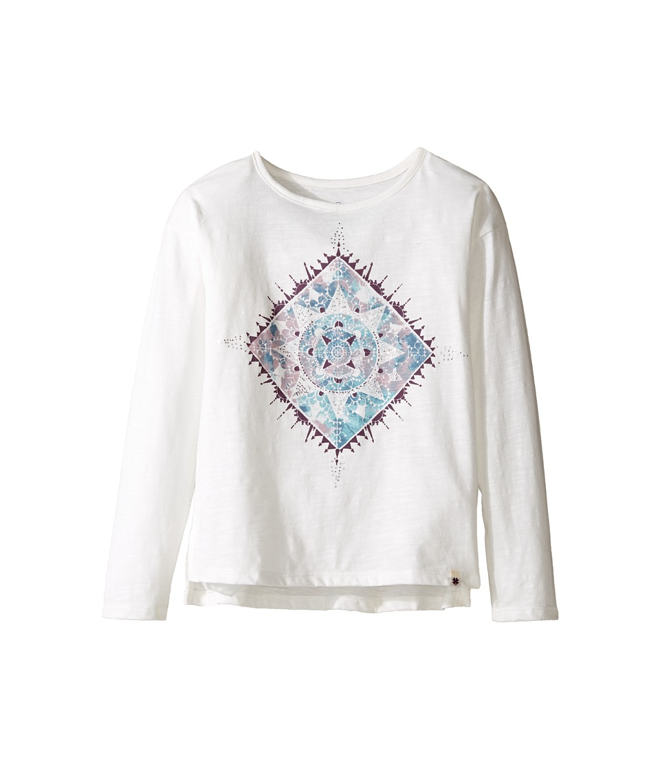 Lucky Brand Kids Long Sleeve Tee with Water Color Graphic Shirt (Little Kids) (Gardenia) Girl