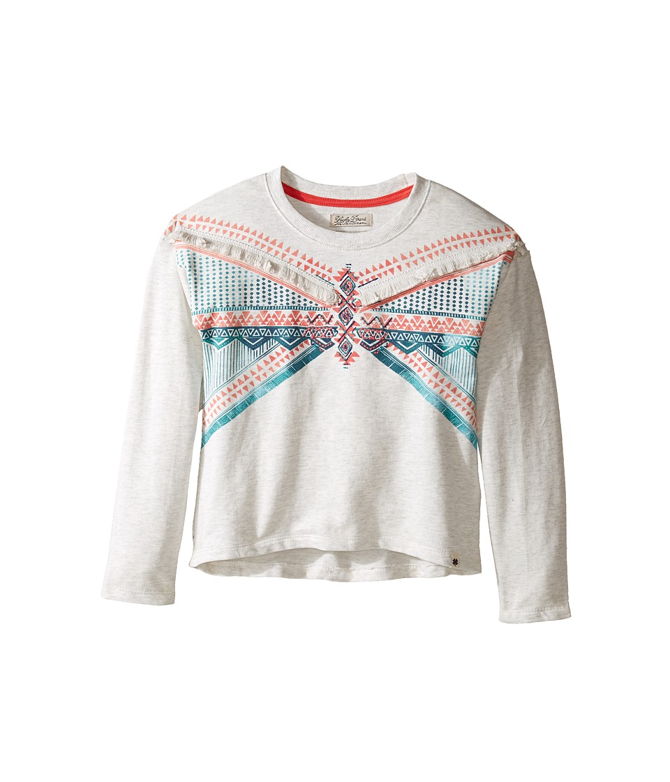 Lucky Brand Kids - French Terry Pullover Shirt with Embroidery and Fringe Trim (Little Kids) (Oatmeal Heather) Girl's Clothing