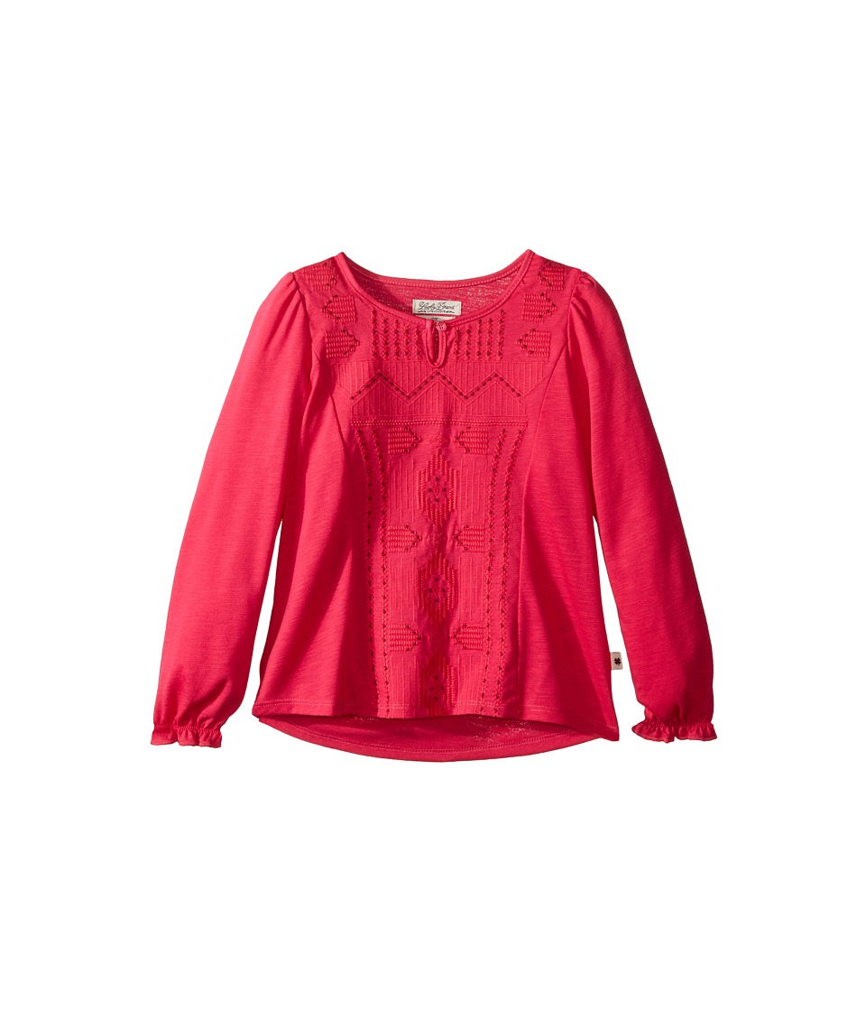 Lucky Brand Kids - Long Sleeve Blouse with Embroidery (Little Kids) (Bright Rose) Girl's Blouse