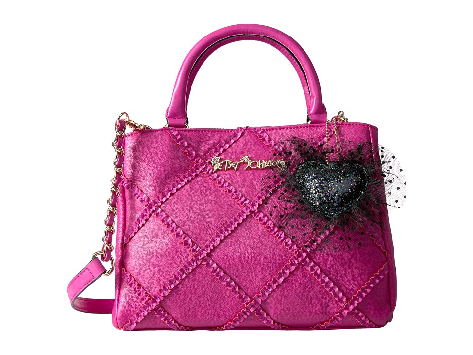 Betsey Johnson - Cross Your Heart Satchel (Fuchsia) Satchel Handbags