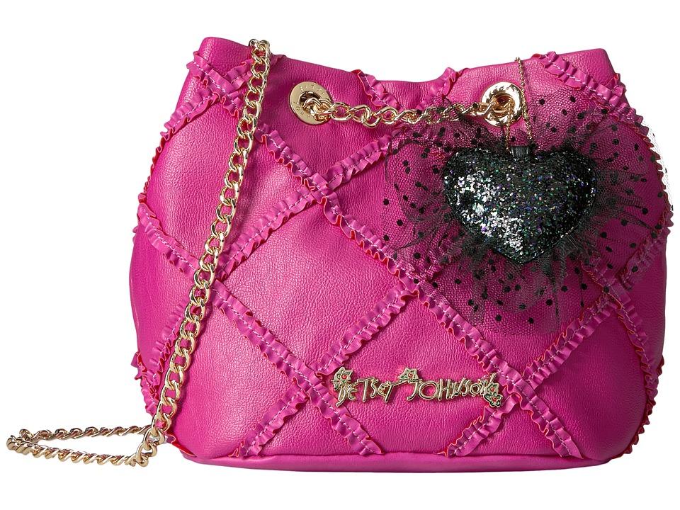 Betsey Johnson - Cross Your Heart Drawstring (Fuchsia) Drawstring Handbags