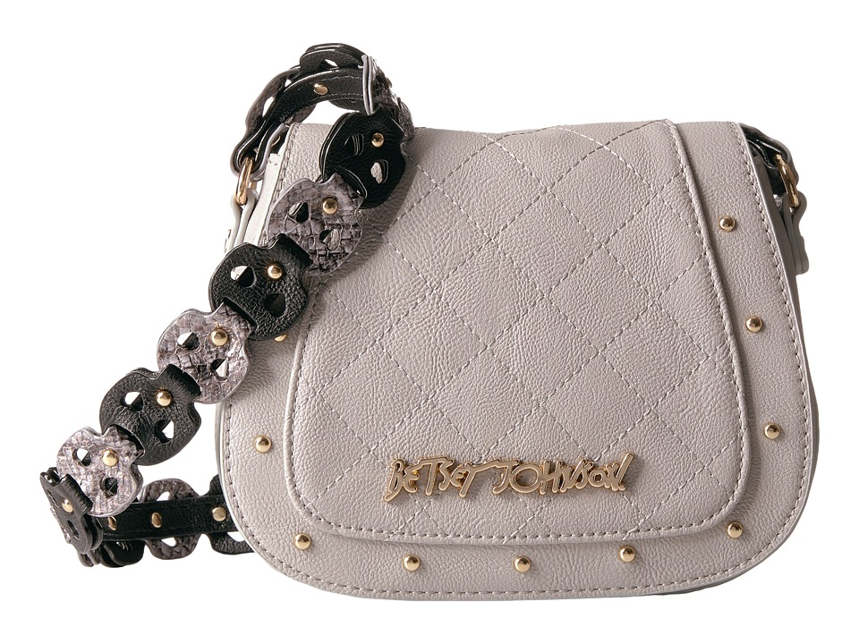 Betsey Johnson - Woven Straps Mini Saddle (Grey) Handbags