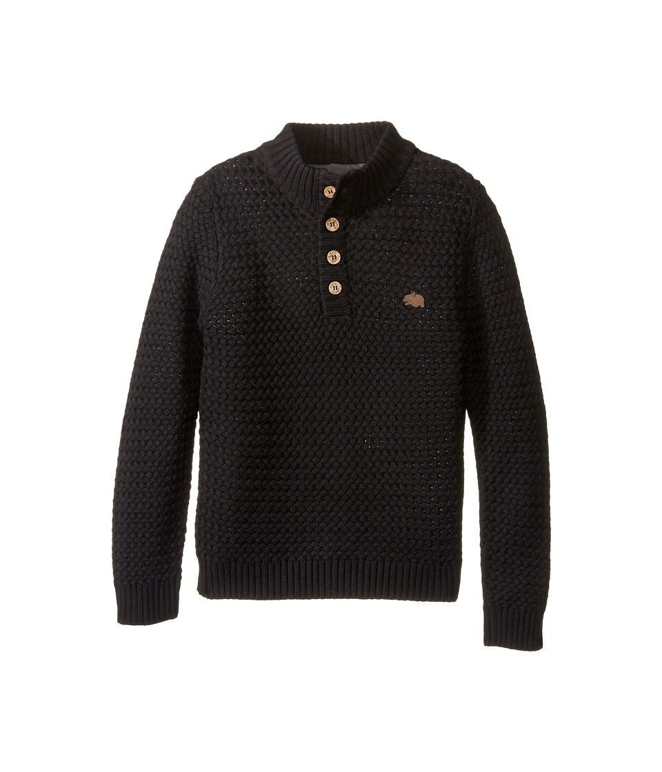 Lucky Brand Kids - Basket Weave with Button Front Sweater (Little Kids/Big Kids) (Black) Boy's Sweater