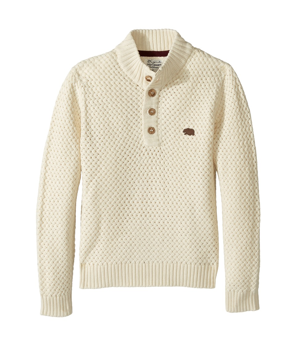 Lucky Brand Kids - Basket Weave with Button Front Sweater (Little Kids/Big Kids) (Turtle Heather) Boy's Sweater
