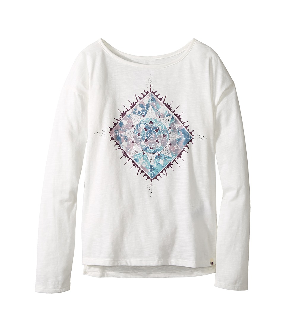 Lucky Brand Kids Long Sleeve Tee with Water Color Graphic Shirt (Big Kids) (Gardenia) Girl