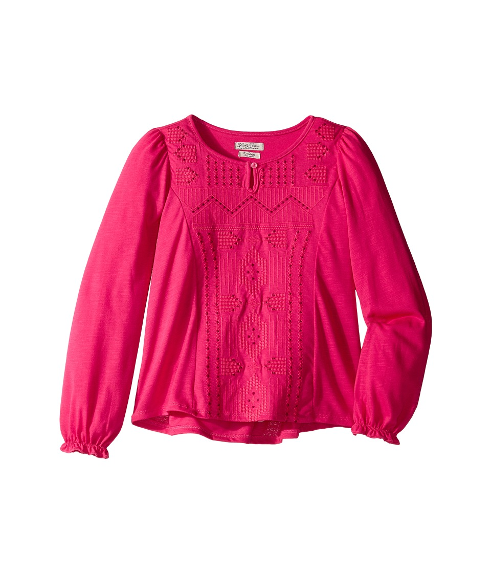 Lucky Brand Kids - Long Sleeve Blouse with Embroidery (Big Kids) (Bright Rose) Girl's Blouse