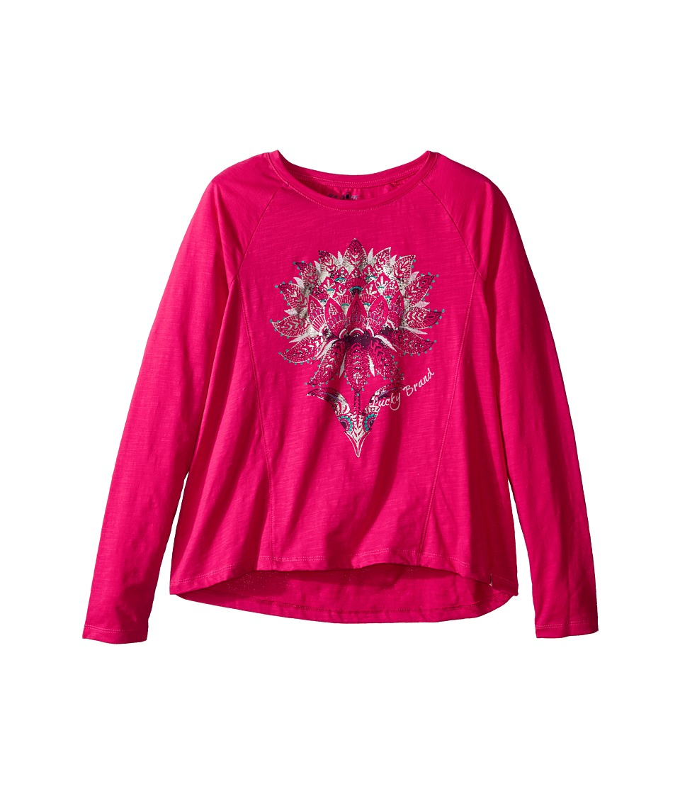 Lucky Brand Kids - Long Sleeve Tee with Lotus Graphic (Big Kids) (Bright Rose) Girl's T Shirt