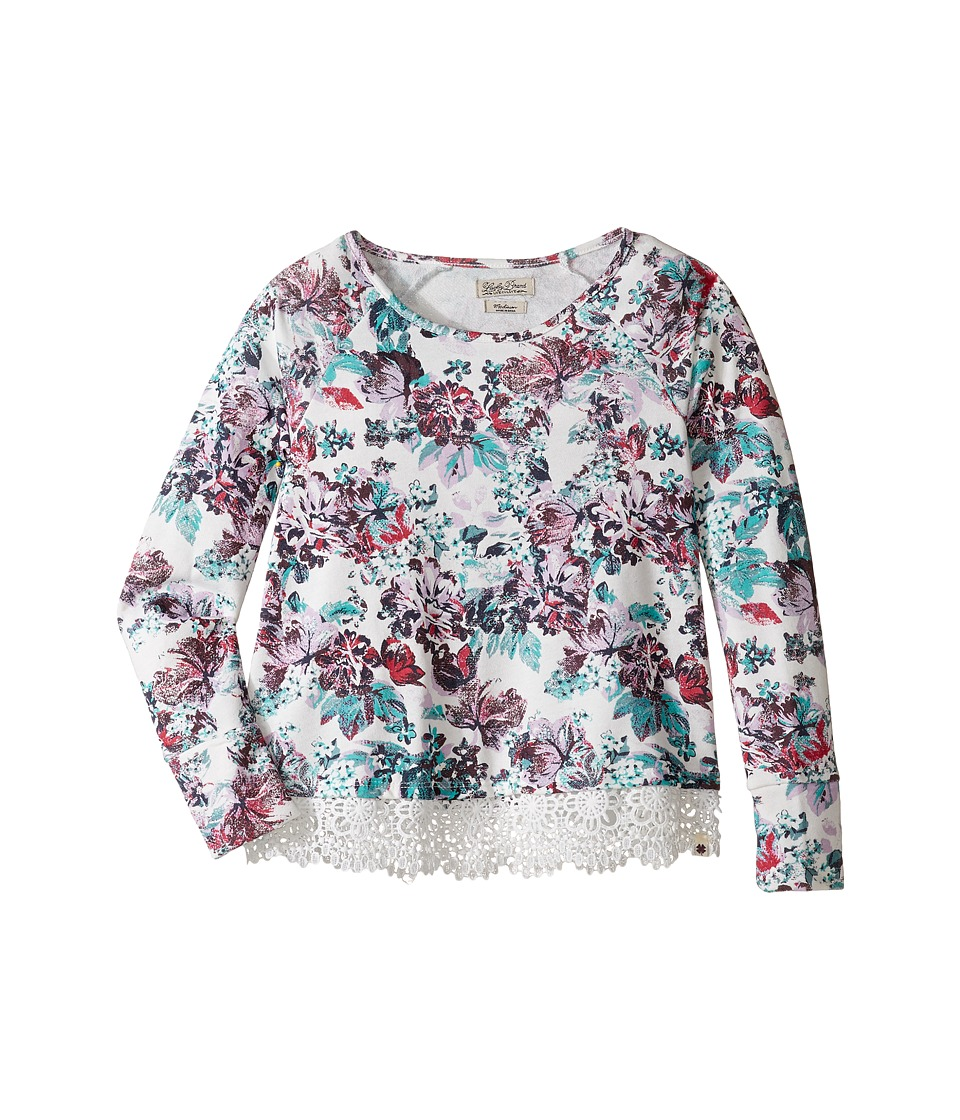 Lucky Brand Kids - Floral Long Sleve Terry Shirt with Lace Trim (Big Kids) (Fair Orchid) Girl's Clothing