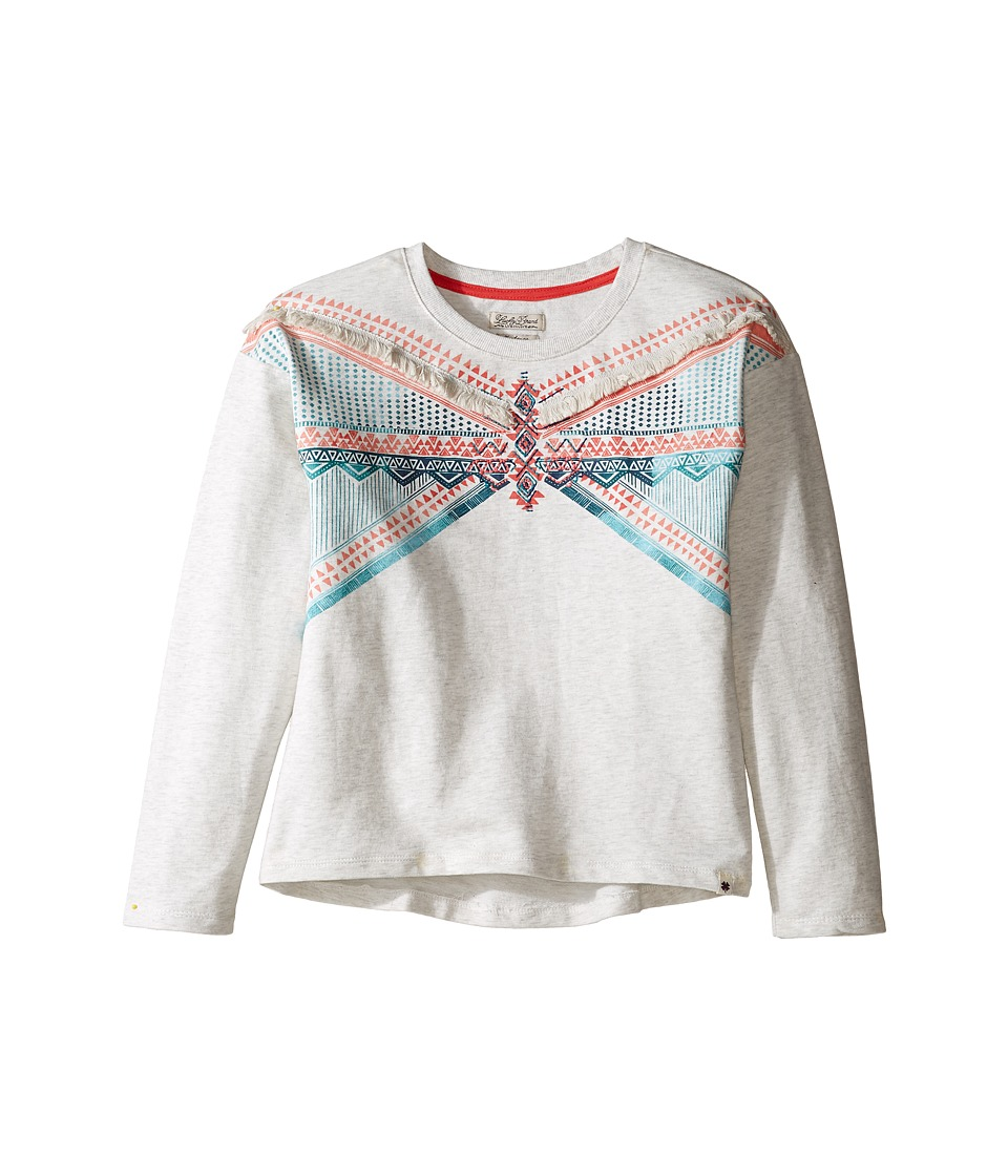 Lucky Brand Kids - French Terry Pullover Shirt with Embroidery and Fringe Trim (Big Kids) (Oatmeal Heather) Girl's Clothing