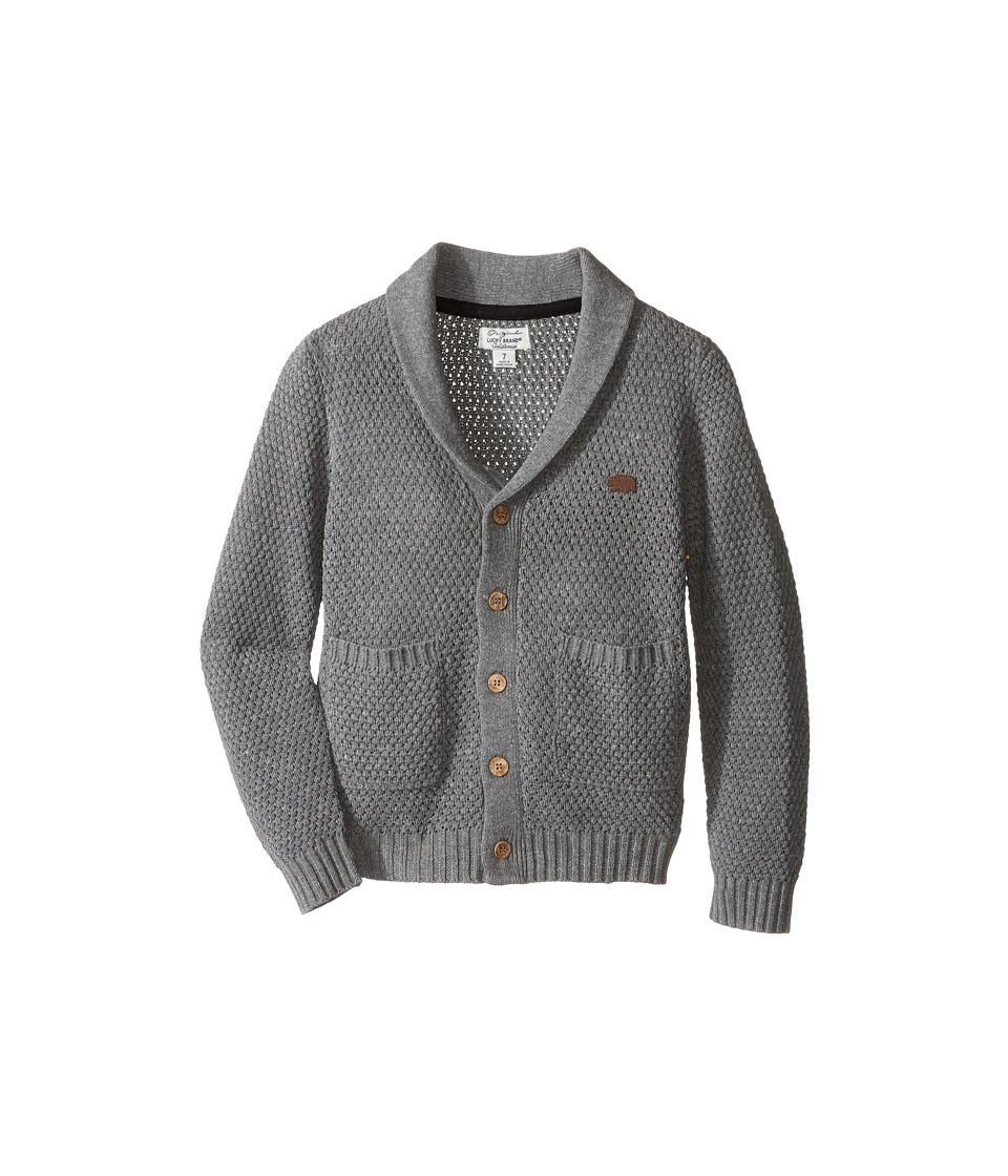 Lucky Brand Kids - Popcorn Cardigan with Pockets Sweater (Little Kids/Big Kids) (Medium Heather) Boy's Sweater