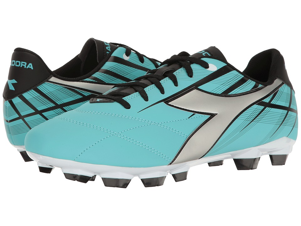 Diadora - Forte MD LPU (Aqua/Silver/Black) Soccer Shoes