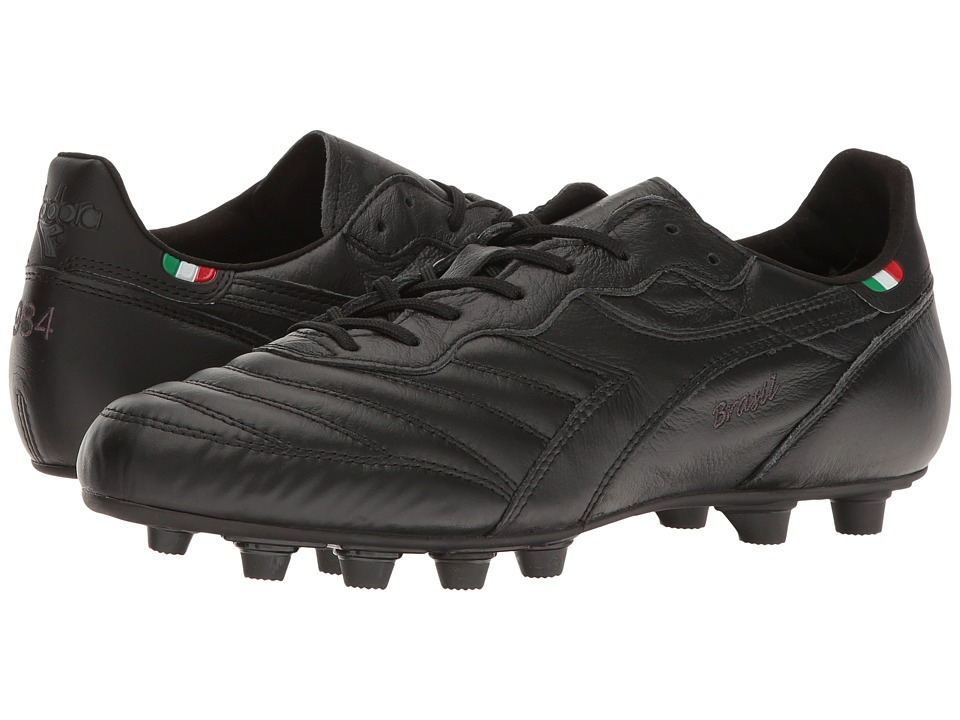 Diadora - Brasil Ita OG MD PU (Black/Black) Soccer Shoes