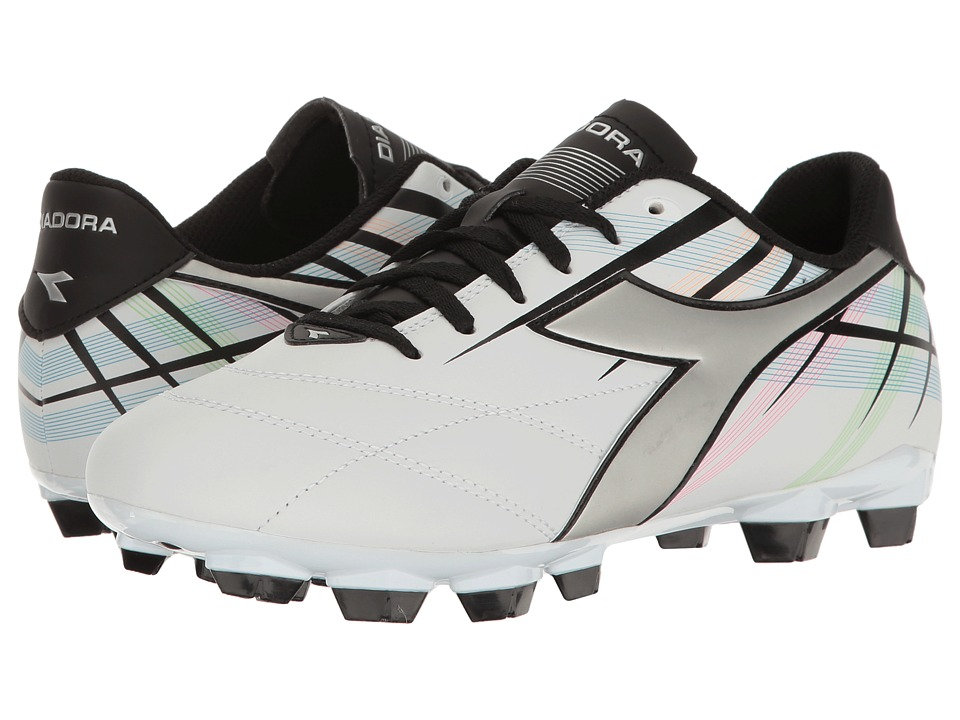 Diadora - Forte MD LPU (White/Silver/Multi) Women's Soccer Shoes