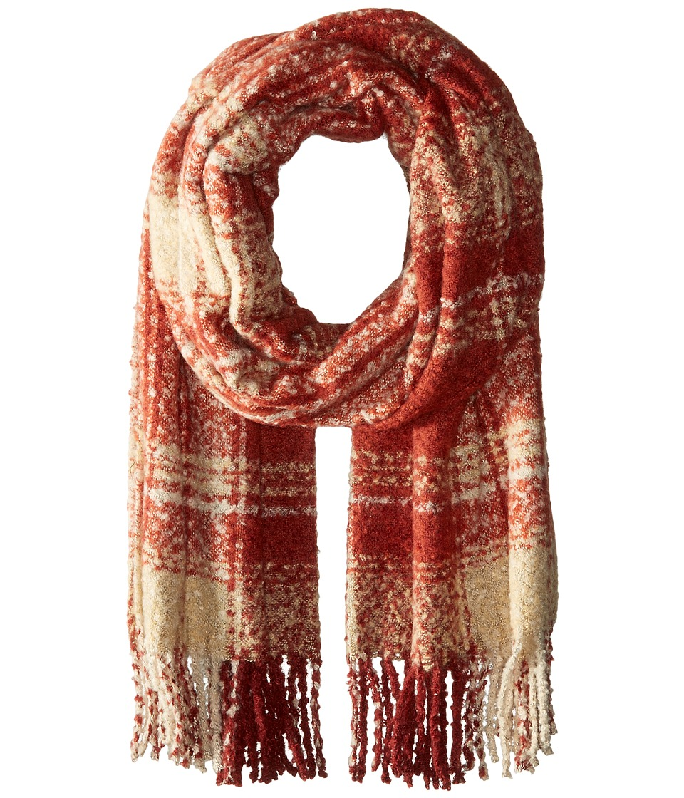 Free People - Loveland Plaid Fringe Scarf (Red) Scarves