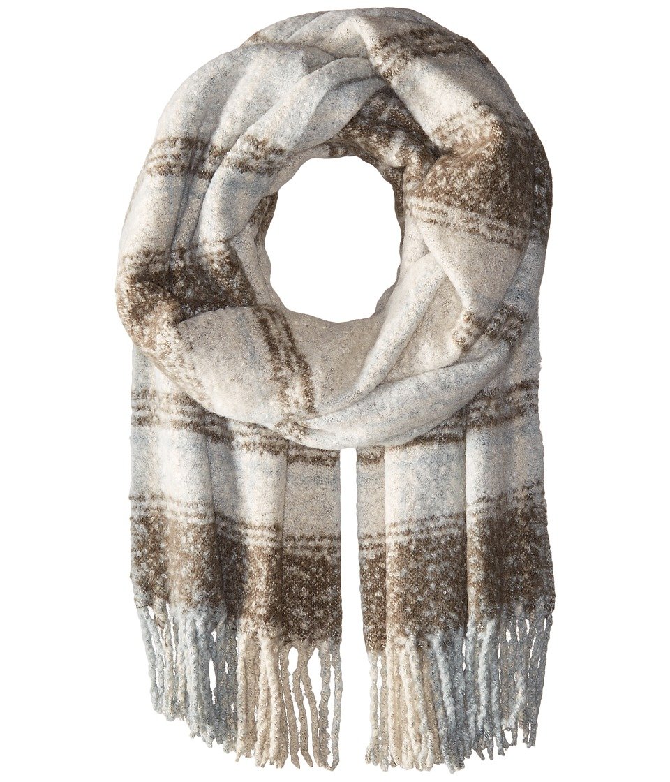 Free People - Loveland Plaid Fringe Scarf (Ivory) Scarves