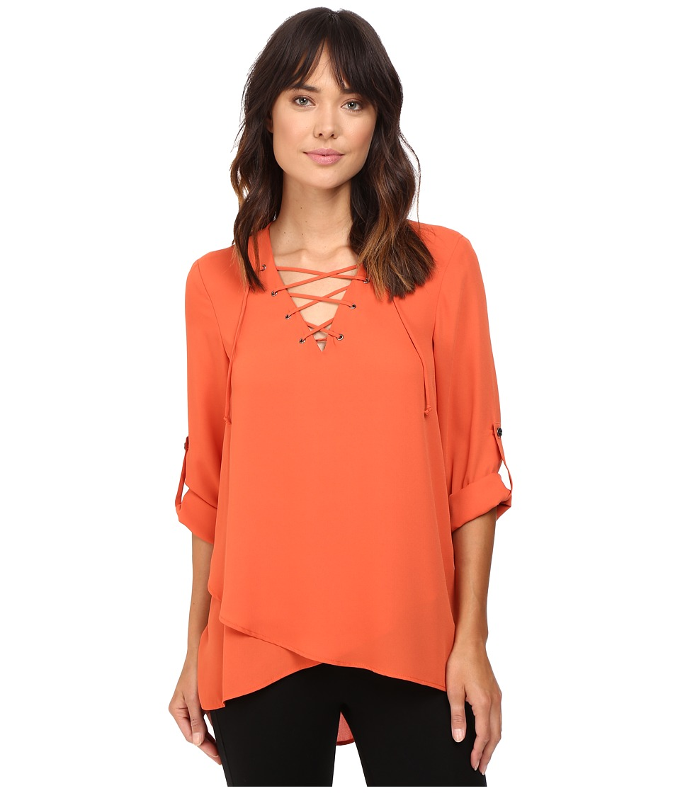 Karen Kane - Lace-Up Roll-Tab Top (Pumpkin) Women's Clothing
