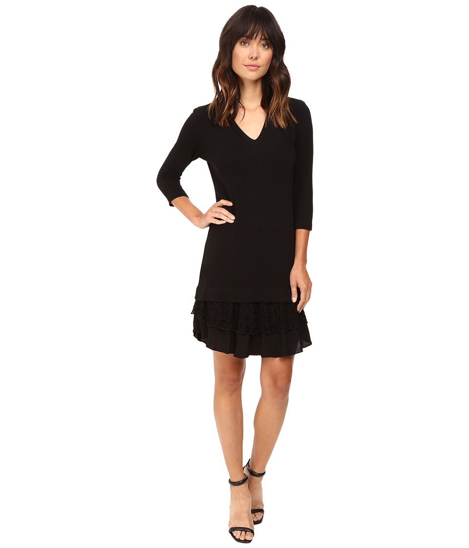 Karen Kane Lace Ruffle Sweater Dress (Black/Black) Women