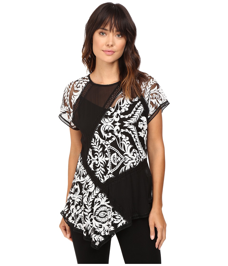 Karen Kane - Multi-Lace Panel Top (Off-White/Black) Women's Clothing
