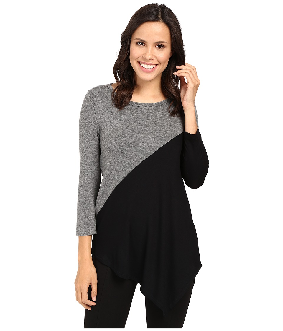 Karen Kane - Color Block Angle Top (Grey/Black) Women's Clothing