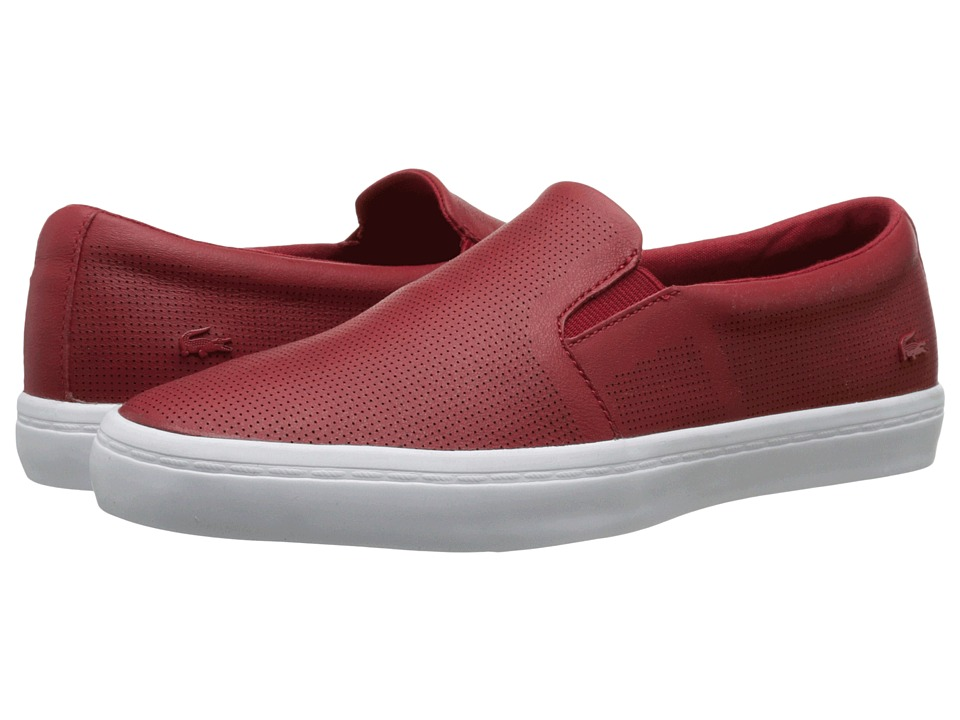 Lacoste - Gazon Slip-On (Dark Red) Women's Slip on Shoes