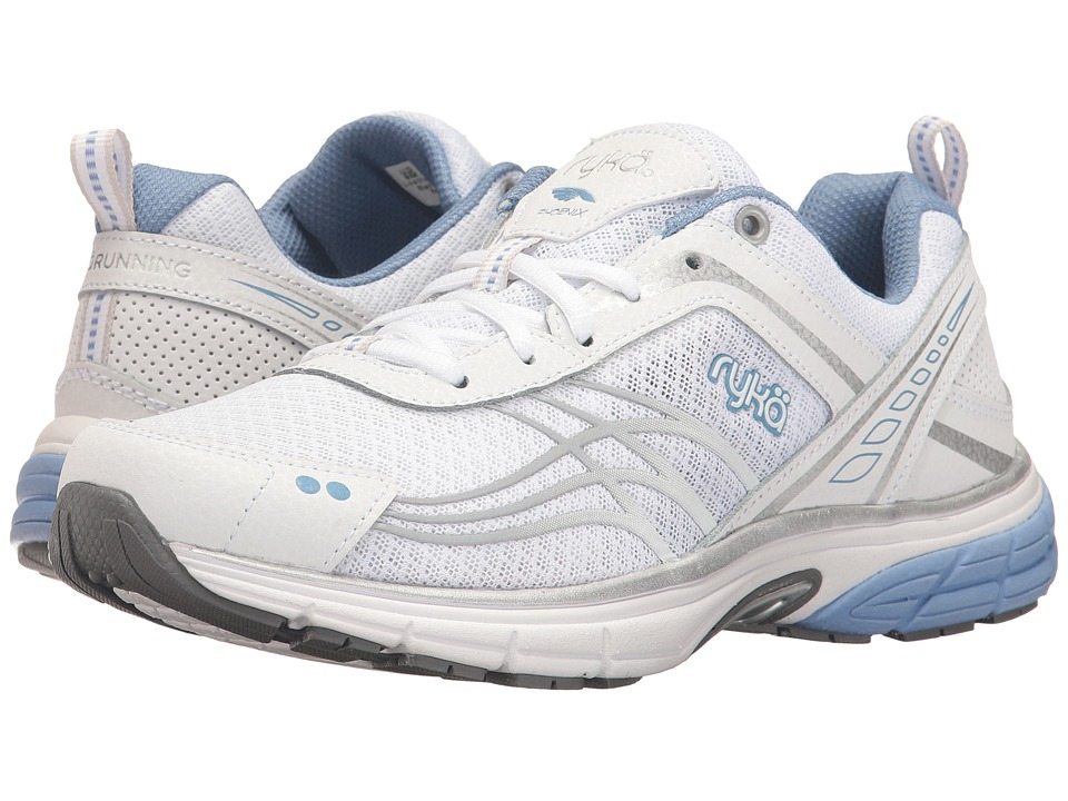 Ryka - Phoenix (White/Chrome Silver/Metallic Lake Blue) Women's Running Shoes