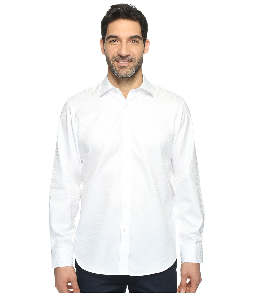 BUGATCHI - Long Sleeve Classic Fit Point Collar Shirt (White) Men's Long Sleeve Button Up