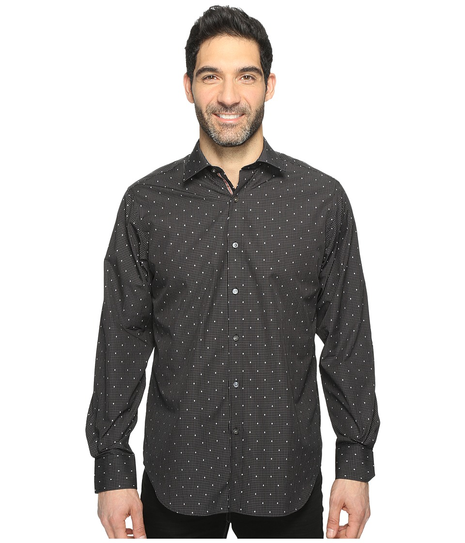 BUGATCHI - Long Sleeve Classic Fit Point Collar Shirt (Black) Men's Long Sleeve Button Up
