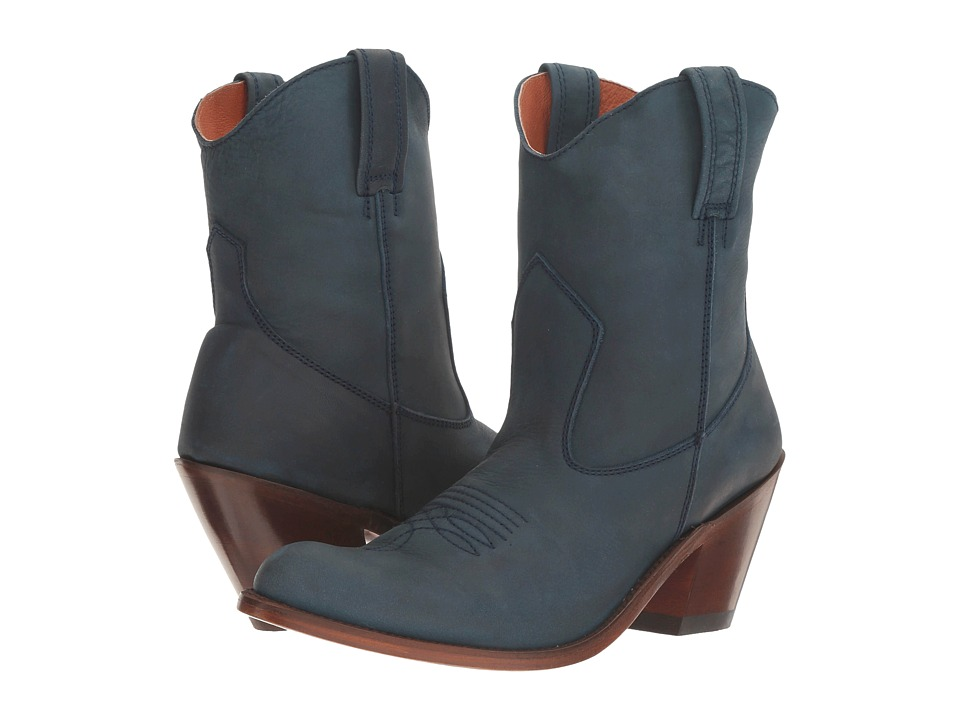 Dan Post Carrie (Navy Suede Round Toe) Cowboy Boots