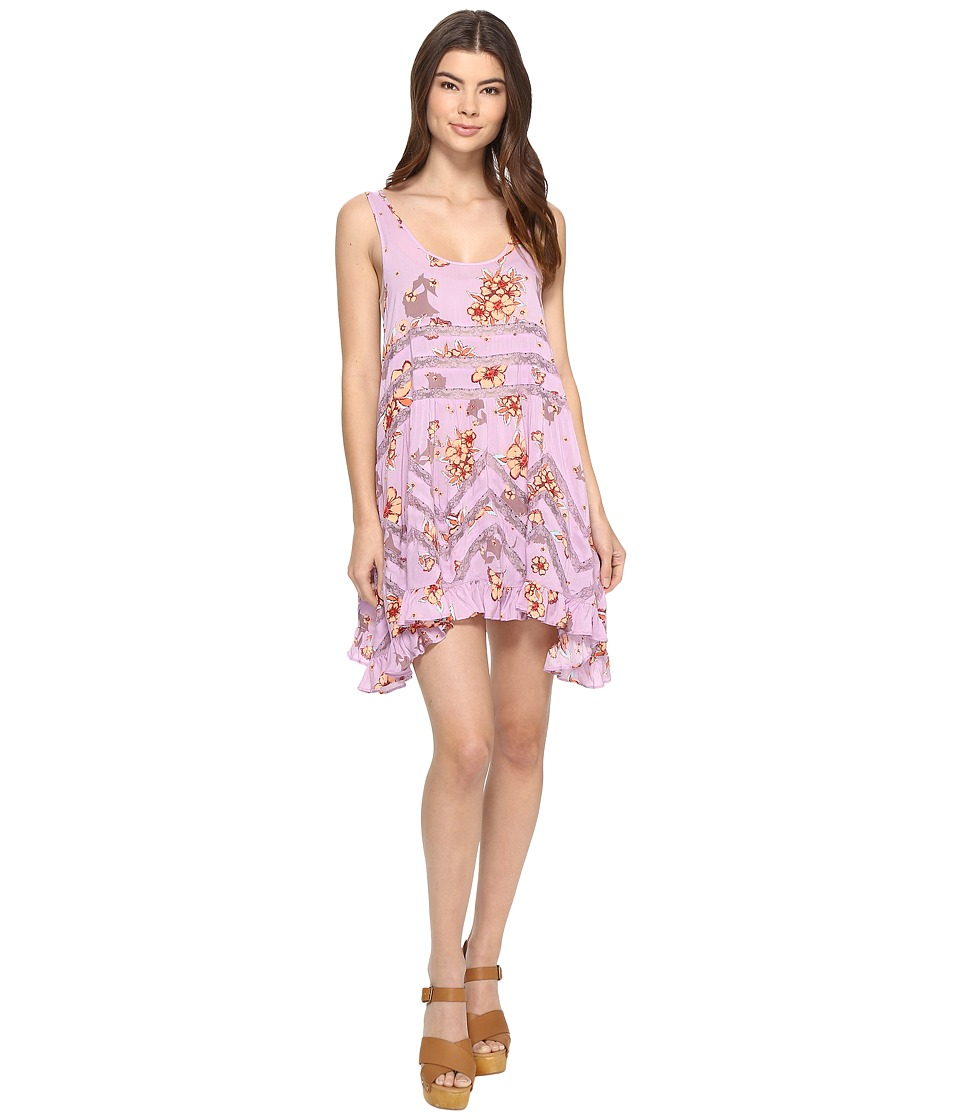 Free People - Printed Viscose Voile Lace Trapeze Slip (Purple Combo) Women's Dress