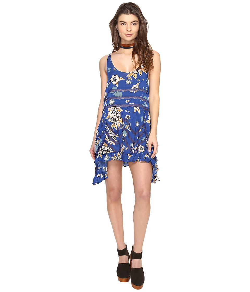 Free People - Printed Viscose Voile Lace Trapeze Slip (Blue Combo) Women's Dress