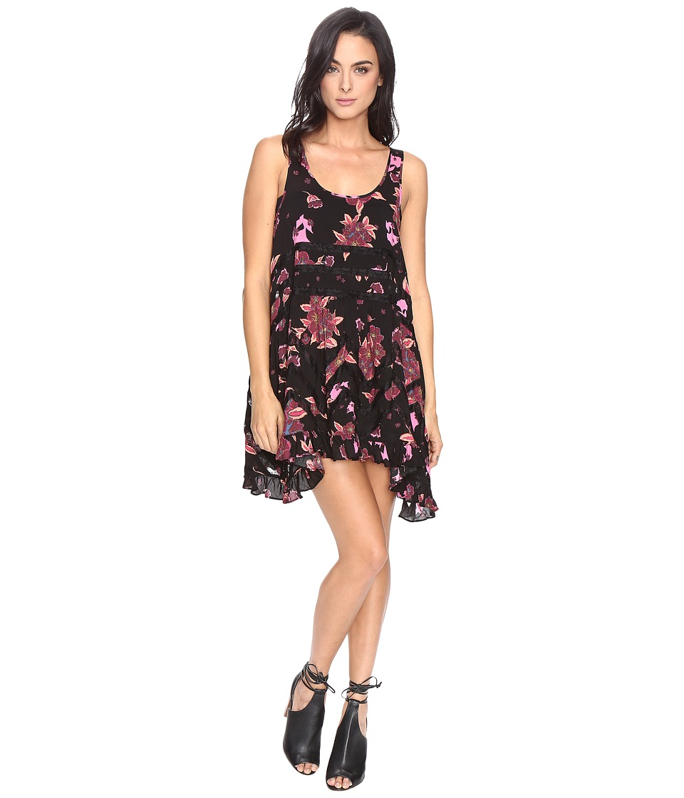 Free People - Printed Viscose Voile Lace Trapeze Slip (Carbon) Women's Dress