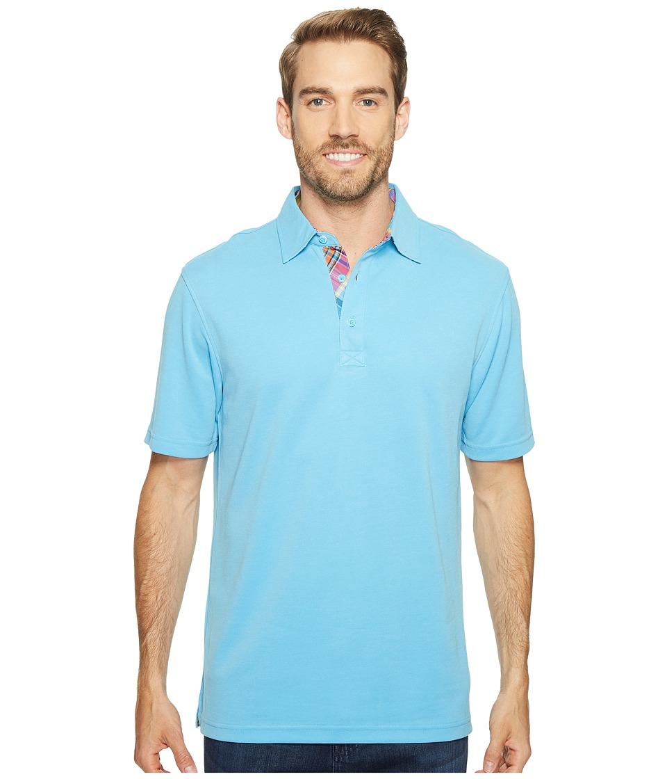 BUGATCHI - F6 Short Sleeve Three-Button Shirt (Sky) Men's Short Sleeve Knit
